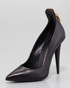 Horn+Zip-Back+Pump,+Black+by+Giuseppe+Zanotti+at+Neiman+Marcus.