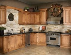 Marron Cohiba Granite w/ Golden Gate Stackstone Backsplash  kitchen countertops