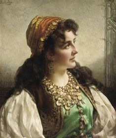 """Gypsy: """"A Young by Jan Frederik Pieter Portielje (Dutch, 1829 - Old Paintings, Beautiful Paintings, Gypsy People, Gypsy Women, Gypsy Girls, Vintage Gypsy, Oil Portrait, Painted Ladies, Classical Art"""