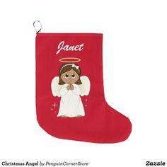 Shop Christmas Angel Large Christmas Stocking created by PenguinCornerStore. Large Christmas Stockings, Xmas Stockings, Christmas Angels, Christmas Holidays, Personalized Stockings, White Elephant, Mantle, Different Styles, Hanukkah