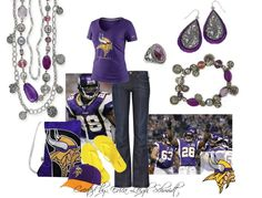 """Minnesota Vikings """"Passionista"""" necklace and bracelet, """"Lilac"""" earrings, """"Gracie"""" ring"""