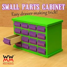 Woodworking for Mere Mortals: Free Woodworking Videos and Plans: Make a Small Parts Cabinet