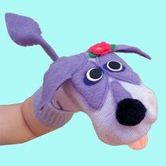 Animal Sock Puppet Purple dog sock puppet