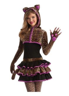 girls leopard kitty cat animal tween kids halloween costume