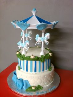 #Carousel #Ponies and #Peas #Baby #Shower #Tiered #Cake With #Quilting #Stripes and beautiful #Horses We love and had to share! Great #CakeDecorating