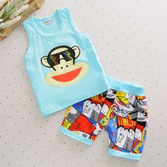 New Hot Baby Boys Clothing Set Children Vest + Pants Sets Kids Cartoon Clothes Casual Suits Cute Monkey Clothes for Summer Cartoon Outfits, Casual Suit, Casual Outfits, Baby Boy Clothing Sets, Cute Monkey, Cartoon Kids, Summer Clothes, Baby Boy Outfits, Outfit Sets