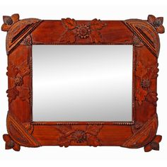 Fine Tramp Art Mirror with Carved Leaves and Extended Corners