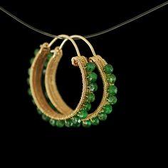 Tsavorite woven gold hoops   Lia Vincenza Designs Oh the green. nom nom nom.  liavincenzadesigns.com