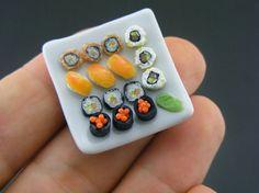 Miniature Food Sculpture -Most Amazing Miniature Food Artwork by Shay Aaron Miniature Crafts, Miniature Food, Miniature Dolls, Polymer Clay Miniatures, Polymer Clay Crafts, Mini Choses, Crea Fimo, Sushi Platter, Food Sculpture