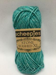 Sheepjes Stone Washed XL, Green Agate, 855, Teal yarn, Teal Green, Cotton yarn by GoodFiberYarns on Etsy https://www.etsy.com/listing/262257823/sheepjes-stone-washed-xl-green-agate-855