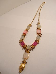 gold necklace pink druzy gemstone necklace by veroniquesjewelry, $209.00