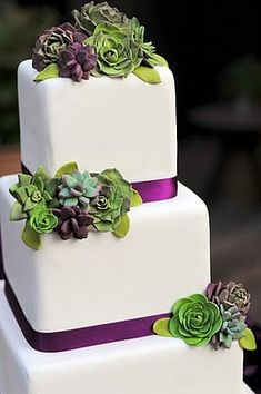Love the succulents on the cake!  Green accents instead of purple...and real succulents, of course!