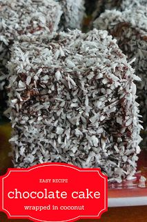 Easy recipe for lemingtons / chocolate cake wrapped in coconut