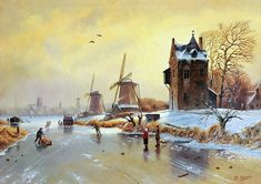 Winterlandschap schilderij - Molens en figuren op het ijs - Olieverf op paneel - 34 x 24 cm.
