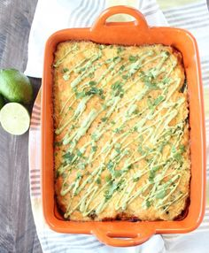 Layers of corn masa, chipotle honey pulled pork, roasted poblano peppers & spicy cheddar cheese make up this delicious gluten free tamale casserole recipe baked in the #WorldMarket Gold Flame Rectangular Potluck Baker