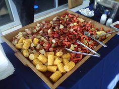 Crab boil for an event!! Shrimp, crab, corn, potatoes, sausage served in these awesome trays!