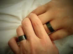 Couple's Ring Set w/ Secret Messages Bold & Wide by palefishny