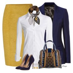 Mustard Skirt by anna-campos on Polyvore featuring мода, NIC+ZOE, Acne Studios, Jonathan Saunders, Gianvito Rossi, Louis Vuitton, Tiffany & Co. and Fendi