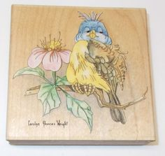Carolyn Shores Wright Stamps Happen Bluebird rubber stamp wood mounted 60042  #StampsHappen #Bluebirds