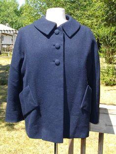 Vintage 60s Raelson Navy Blue Wool Jacket Coat Medium Large  #Raelson
