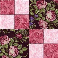 RJR Giselle Pink Black Mauve  Shabby Rose Violet Floral Pre-cut Quilt Block Kit