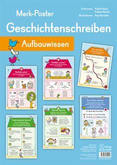 """Merk-Poster - Geschichtenschreiben – Aufbauwissen ++ #Organisationsmaterial für den #Deutschunterricht an Grundschulen, Klasse 2-4 ++ Auf häufig gestellte Fragen zu ausdrucksstarker oder bildhafter Sprache, Wortfeldern, Satzverknüpfungen und Co. finden die Kinder auf den 6 liebevoll gestalteten Merk-Postern rund um das Thema #Geschichtenschreiben schnell eine passende Antwort. + Inhalt: """"Der rote Faden"""", """"Kurze Sätze verbinden"""", """"Ausdrucksstarke Sprache"""", """"Bildhafte Sprache"""" u.a."""