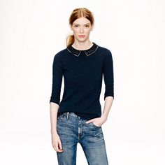 J.Crew - Collection cashmere jeweled-collar sweater #FW2013