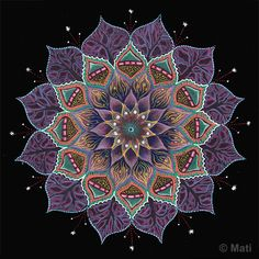 """""""Night Hlotos Flower Mandala"""" - art by Mati Reved, via bindu.co.il   ...The website says, """"The process of drawing a Mandala is an unplanned journey. You just start at the center (the Bindu) and go on a journey of colors, shapes, textures and archetypes as a part of a meditative inner conversation.""""..."""