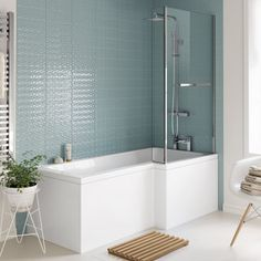 1700x850mm Right Hand L-Shaped Bath - 4mm Screen, Rail & Front Panel (Excludes End Panel)