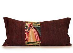 La princesse - Coussin canevas drap de lin teint, 25x50cm, Pièce unique, upcyclée