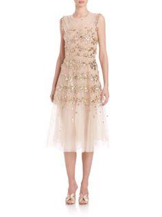 Oscar de la Renta - Embellished Tulle Cocktail Dress