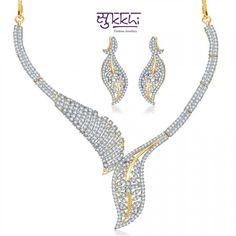Stunning Leaf Style CZ Necklace Set | High5Store.com