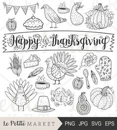 Thanksgiving Clipart, Cute Hand Drawn Thanksgiving Clip Art, Turkey Clipart, Harvest Clipart, Illust