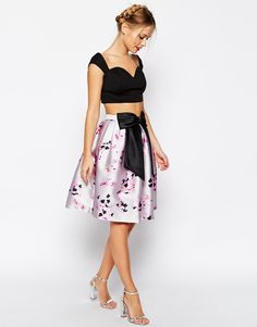 ASOS Full Skirt In Floral Print With Oversized Bow
