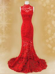 Red lace cheongsam dress SCL19