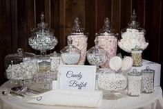 Wedding Candy Buffet table - silver, grey and white