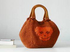 Knit handbag, Skull pattern Knitting Women Tote, fashion colors, Knit women handbag, valentine's day gifts, rusty and orange