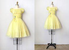 vintage 1950s dress / 50s vintage dress / 1950s prom dress / yellow vintage dress. $98.00, via Etsy.