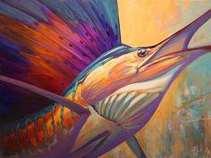Rising Son - Contemporary Sailfish Painting - Painting by Mike Savien