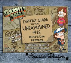 Gravity Falls Birthday Invitation DIGITAL DIY by SporterDesigns