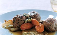 Veal Meatballs with Braised Vegetables | Recipe By: Melissa Roberts | We've lightened traditional meatballs with veal and added Mediterranean accents to achieve a bright, springtime flavor. Chicken broth and matzo meal take the place of milk and bread crumbs to keep the meatballs exceptionally tender. | From: gourmet.com