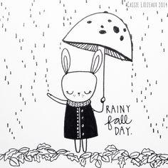 Rainy Fall Day. Day 142 of yearlong sketchbook project. Cassie Loizeaux 2014