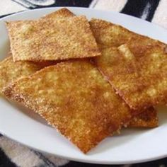 Cinnamon Sugar Crisps 32wonton wrappers, 1 1/2 tbsp margarine melted, 3 tbsp cinnamon sugar, Preheat oven to 400* lay wonton wrapers flat on cookie sheet and brush with butter, sprinkle cinnamon sugar on top and bake for 5 min or until crisp