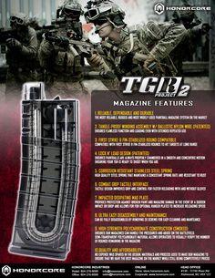 Dale un vistazo a las grandes características de los magazines de Honorcore Industries y descubre porque son uno de los mejores en el mercado.  Sólo con Pait·Hall Supply!  MAKING HAPPY PLAYERS!