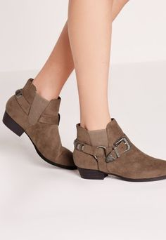 Missguided - Western Trim Ankle Boots Taupe