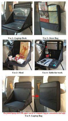 Multi-Purpose Car Seat Back Folding Storage Organizer Upto 15.6in Laptop Holder/Portable Desk/Snack Table/Organizer - Free Shipping- - TopBuy.com.au