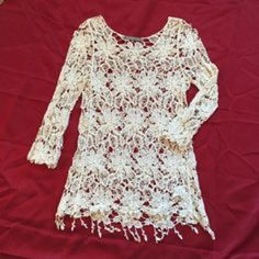 Crochet long sleeve top Boho hippie vibe! Great condition. Tops Tees - Long Sleeve