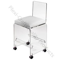 The Lucite Small Vanity Stool w Wheels is perfect paired with a