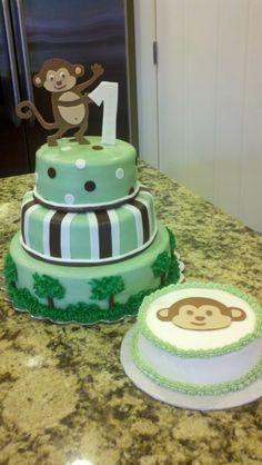 Green and Brown 1st Birthday Monkey - so cute