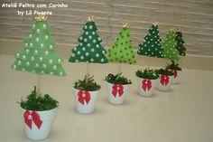 Enfeite de mesa Arvore de natal, 15 cm | Ateliê Feltro com Carinho - Lô Pivante | Elo7